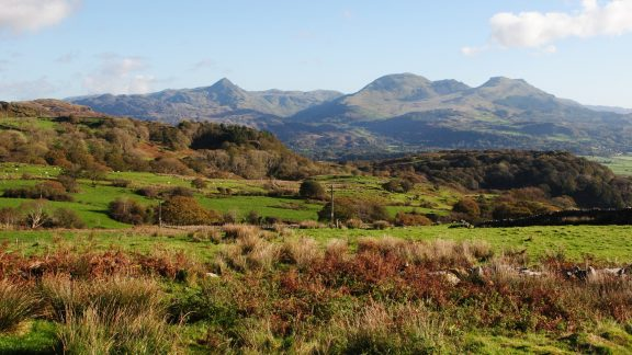 The Glaslyn Estuary And The Moelwynion From The Hills Above Tremadog