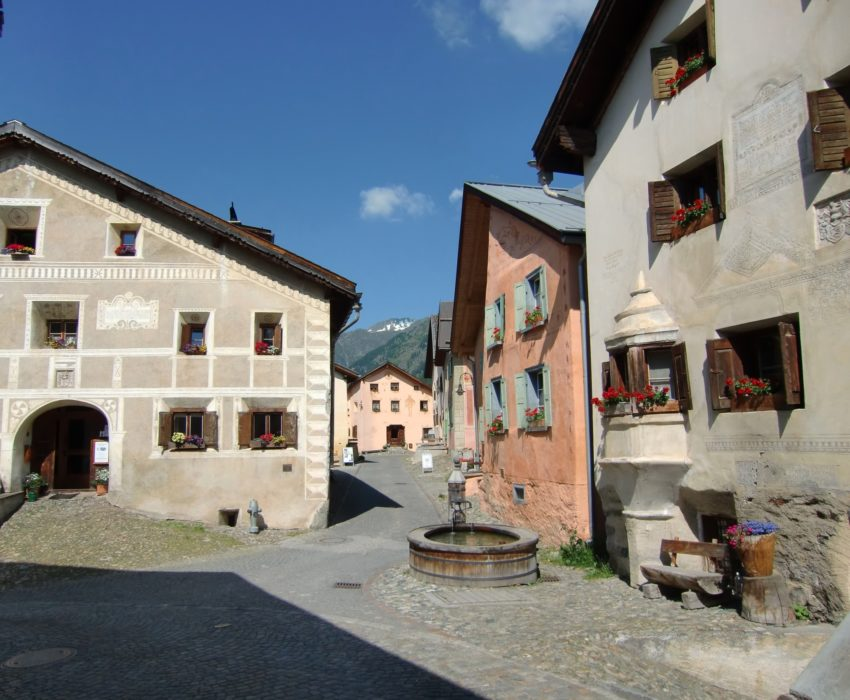 The old Romansch village of Guarda in the Lower Engadine