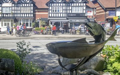 The three rivers that meet in Whalley  - the Hodder, Calder and Ribble – are represented  both on the town's arms  and this sculpture as three fishes.