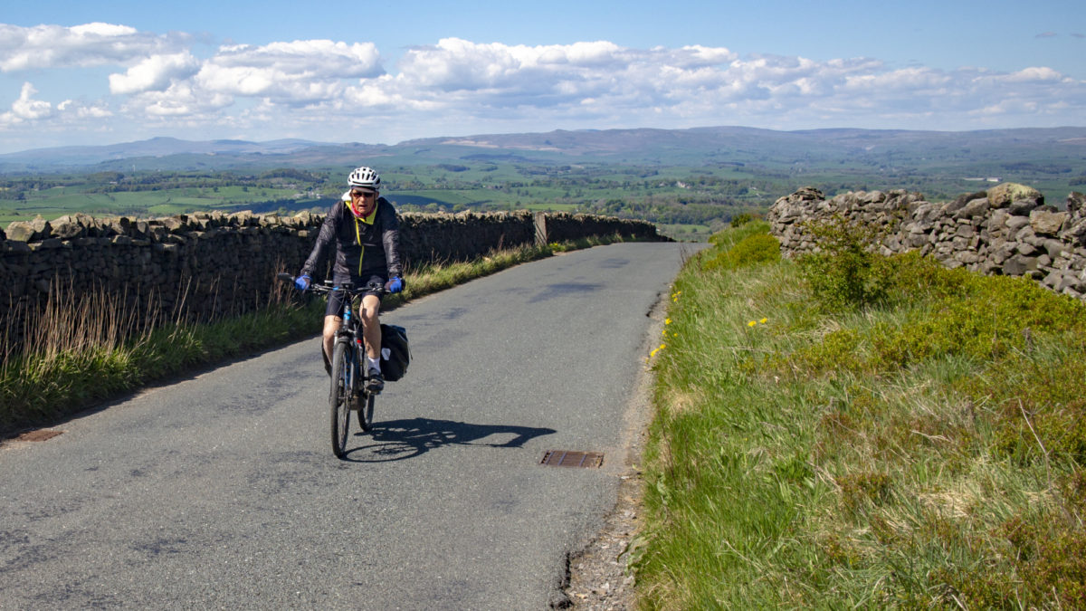 Topping out Earby Hill on the e-bike without any sign of distress