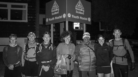 The team for leg 1 gather before Jasmin's record-breaking run: (l-r) Tom Harris, Graham Nash, Mark Harris, Alena Vencovska (Jasmin's mum), Charlie Ramsay, Jasmin Paris, Jonathan Whilock.