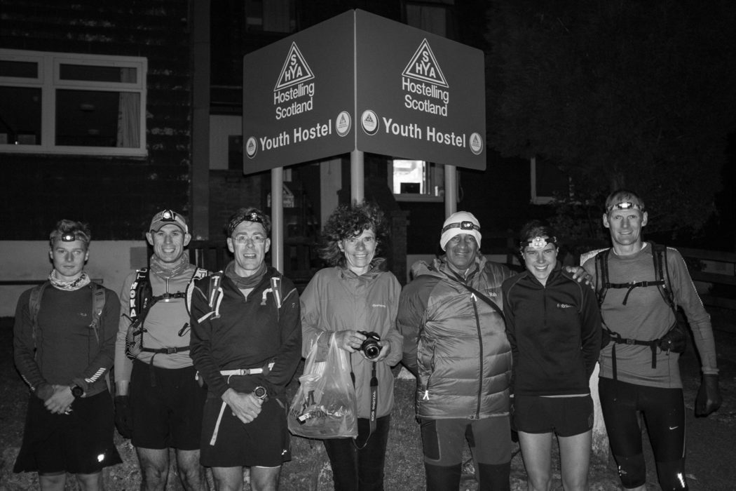 The team for leg 1 gather before Jasmin's record-breaking run: (l-r) Tom Harris, Graham Nash, Mark Harris, Alena Vencovska (Jasmin's mum), Charlie Ramsay, Jasmin Paris, Jonathan Whilock.