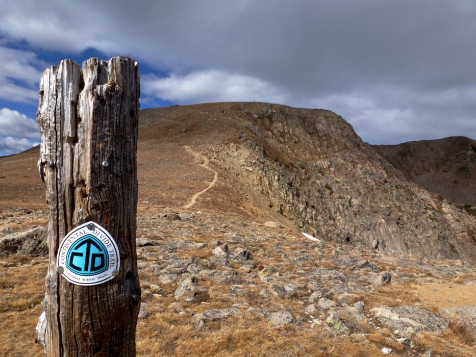 CDT trail post:  Trail marking quality on the Continental Divide Trail can vary wildly.  This portion in central Colorado is as good as it gets.