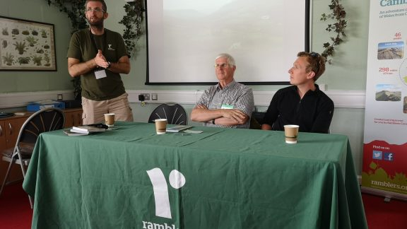 Oliver Wickes, Richard Tyler and Will Renwick at the Cambrian Way book launch