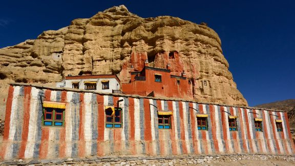 a complete gompa is built around one of the caves