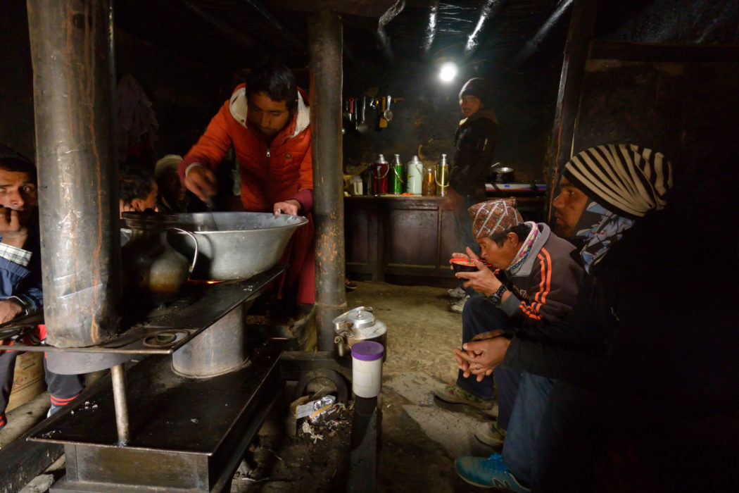The only thing on offer in Ghar Gompa was a very welcoming cup of noodles in a smoky but nice, warm kitchen.
