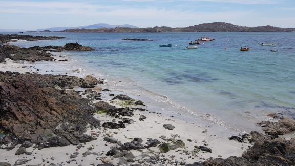 The sandy beaches of the Isle of Iona, just off the Ross of Mull