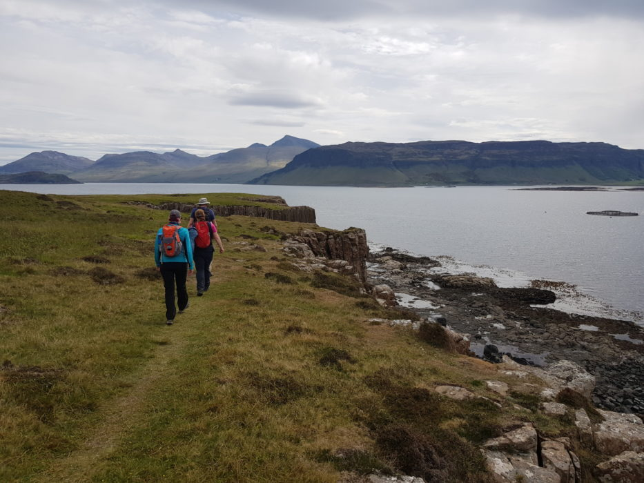 Walking on the Isle of Ulva, with Mull's highest peaks in the background