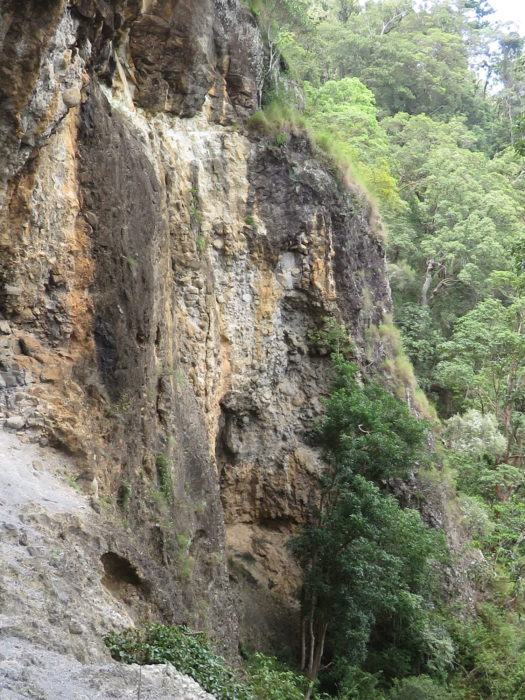 The rock overhang at Kweebani, showing the complex volcanic geology above the rock  shelter used by the Wangerriburra people