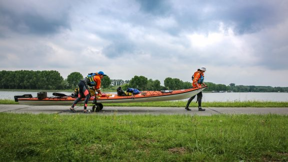 """This is how we dealt with the first twenty locks on our expedition, out of the total 250. """"Portaging"""" involves hauling everything around a lock, which is often tiring and time-consuming."""