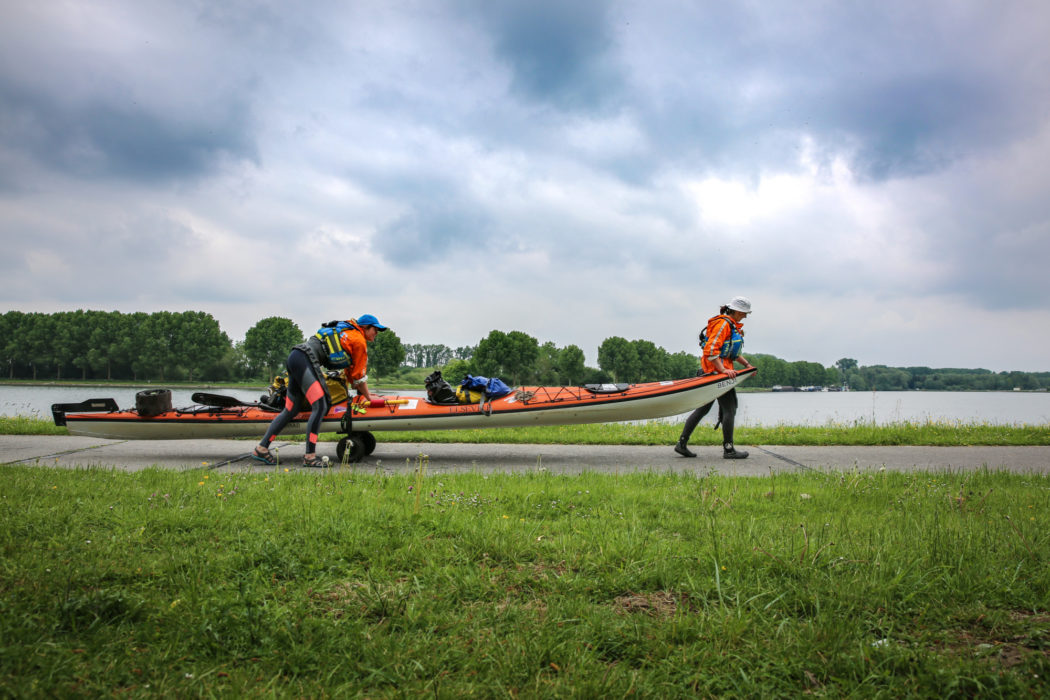 "This is how we dealt with the first twenty locks on our expedition, out of the total 250. ""Portaging"" involves hauling everything around a lock, which is often tiring and time-consuming."