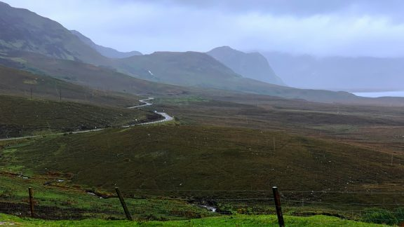 Day 2 04 Rain Falling At the Southern End of Loch Eriboll