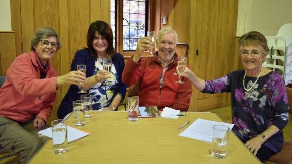 Cheers! (L-r) Kate Ashbrook, Clare Featherstone, John Gillham and Audrey Menhinick