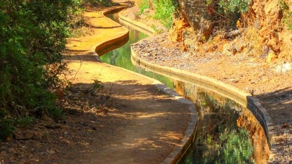 The levada channels water to the cultivated lands