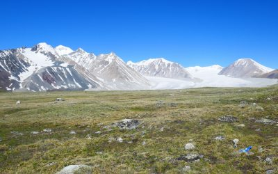 Mt Malchin R and the Potanii glacier beside the five sacred mountains of the Tavn Bogd range in Mongolia