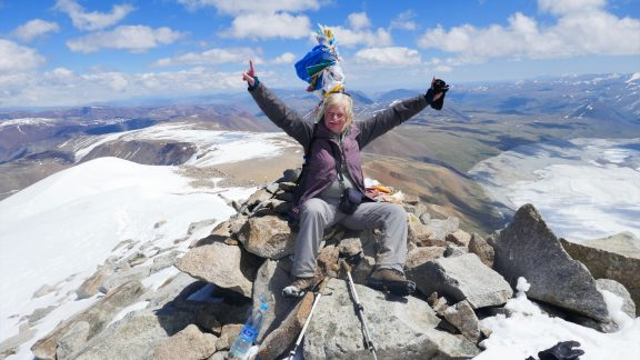 09 On the summit of Mt Malchin 4050m Russia is on the left Mongolia to the right