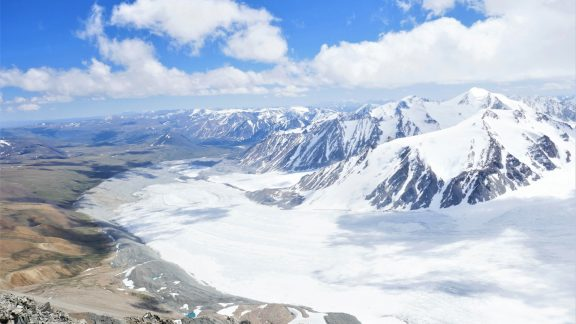 10 The Potanii glacier and the sacred mountains seen from the top of Mt Malchin