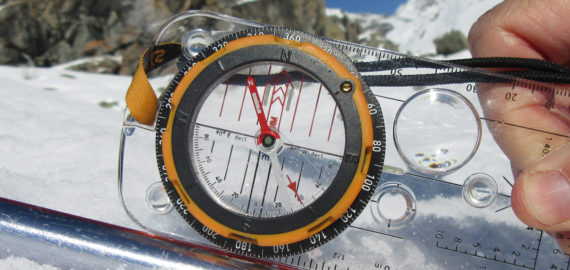 TH Using a built in clinometer a trekking pole helps provide a straight edge on which to measure the slope angle