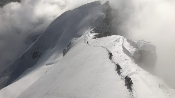 Looking Down The Upper Section Of The Hohlaubgrat On The Allalinhorn Switzerland