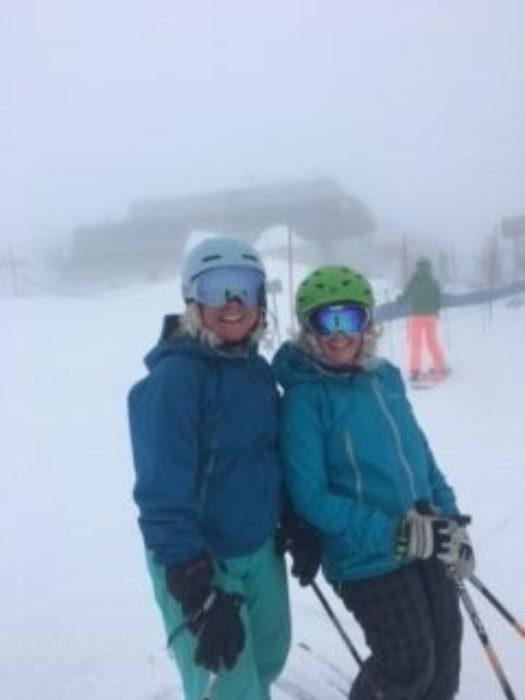 Laura skiing