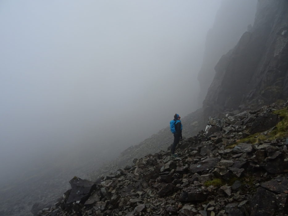 Looking up towards the TD Gap on a thwarted attempt at the Cuillin ridge traverse