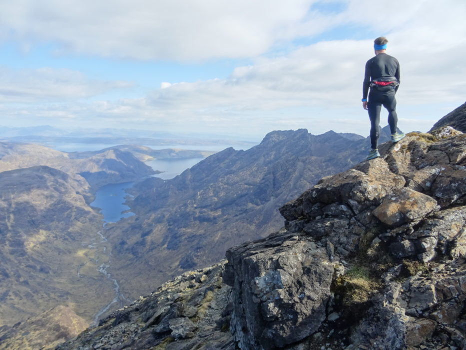 Looking down to Loch Coruisk hidden behind the main ridge