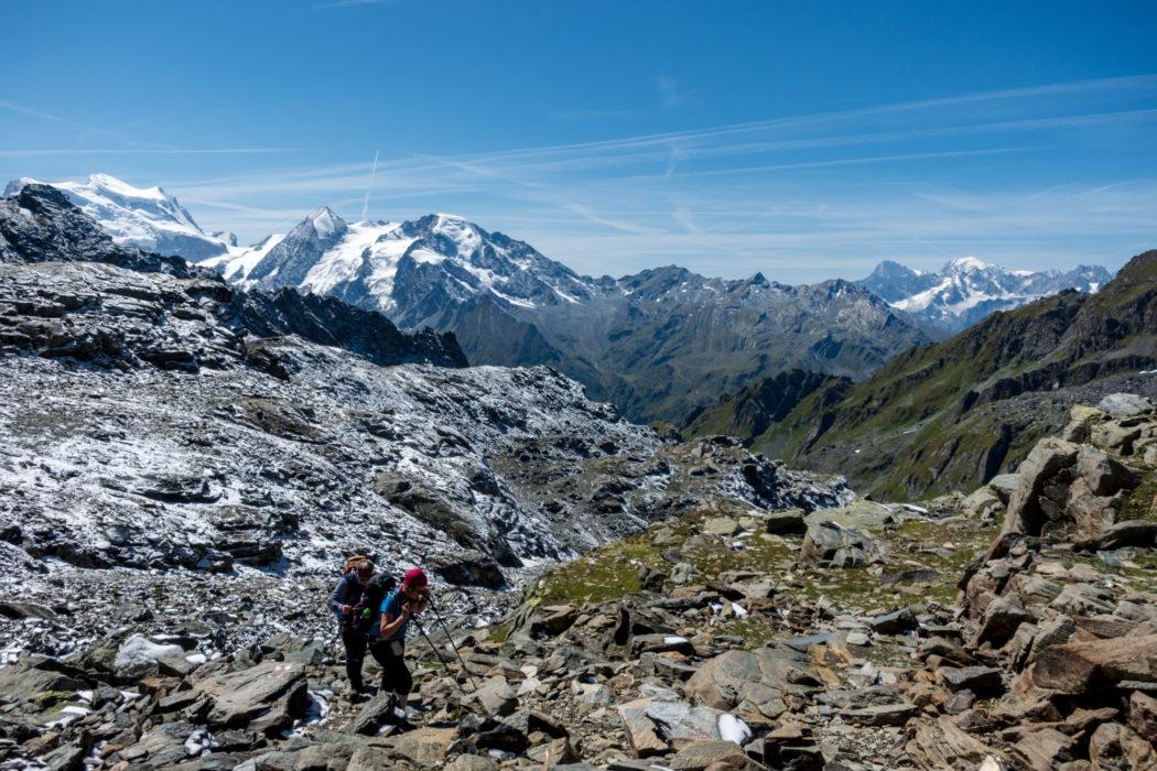Jonathan and Lesley on the Chamonix to Zermatt route