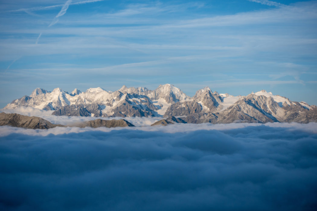 The Mont Blanc range from the Cabane de Mont Fort