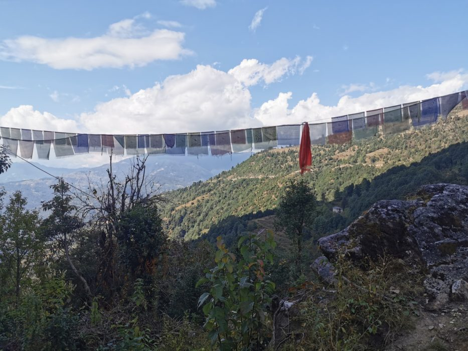 Prayer flags offering prayers to the wind