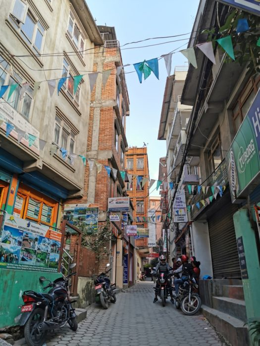 Chaotic narrow streets in Thamel, the tourist hotspot of Kathmandu