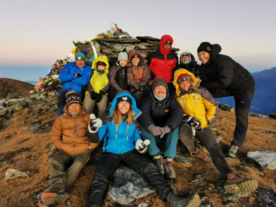 The group - happy and tired and chilly. Abhishek is in the red coat and our sirdar Cshiring Sherpa is in the brown jacket at the front.