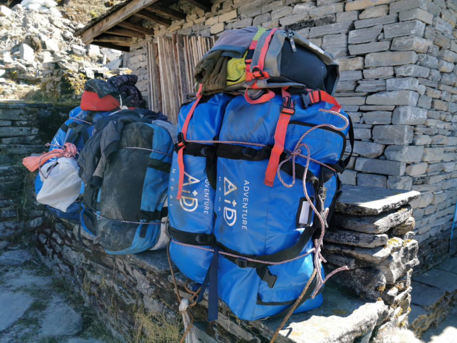 The packs our porters were carrying. Each blue bag was between 15-20kg.