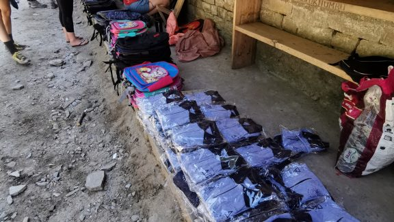 Getting ready to hand out uniforms at Kinja School
