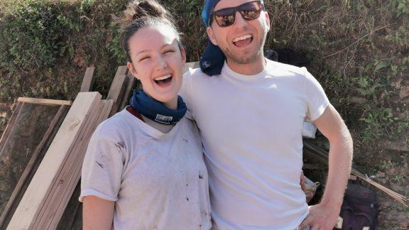 Ioan and Tara laughing at their planing pain