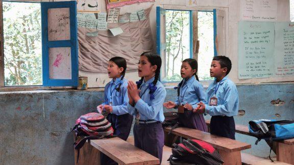 Schoolchildren at Kinja school