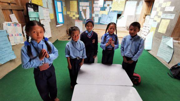 Some of the schoolchildren in Kinja