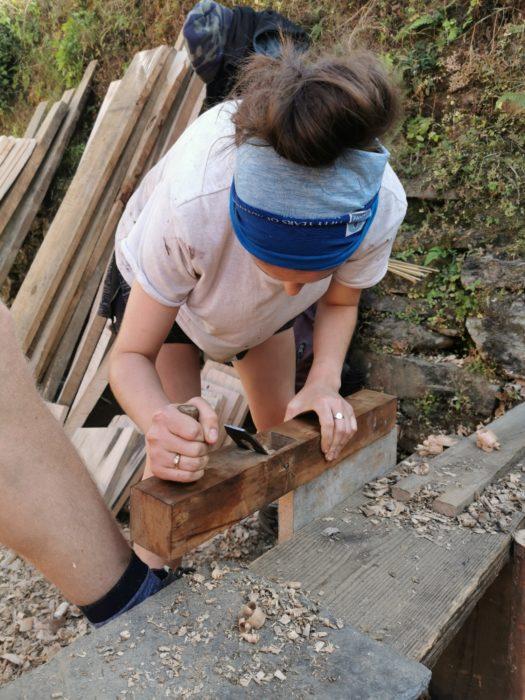 Tara looking like a professional carpenter