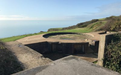 Gun emplacement overlooking the English Channel from Castle Hill Newhaven