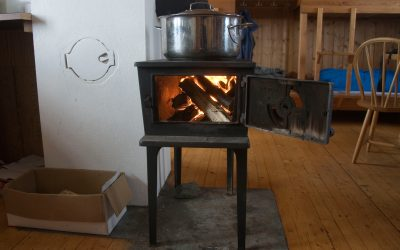 Welcome warmth: a typical fire in a DNT hut