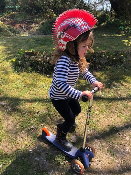 Eleanor on her scooter