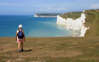 A popular clifftop walk along the Seven Sisters near Eastbourne