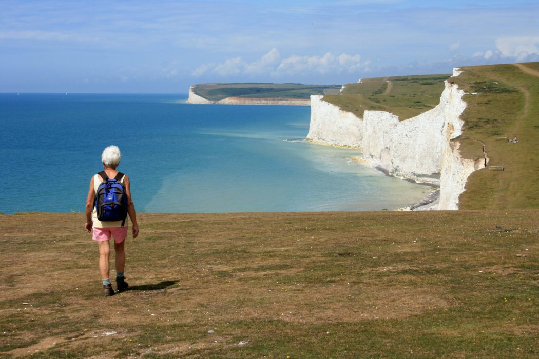 A popular clifftop walk along the Seven Sisters near Eastbourne