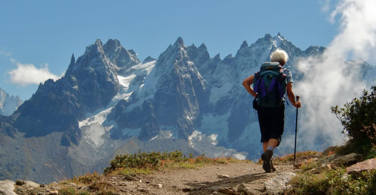 Walker on the TMB above the Chamonix valley