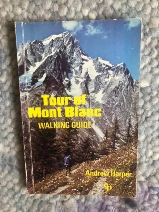 My first Cicerone guide book (1982) and my last trip to Mont Blanc (2018). I am descending from the Signal de Bisanne while watching the Tour de Savoie-Mont Blanc bike race. Still dreaming of TMB.