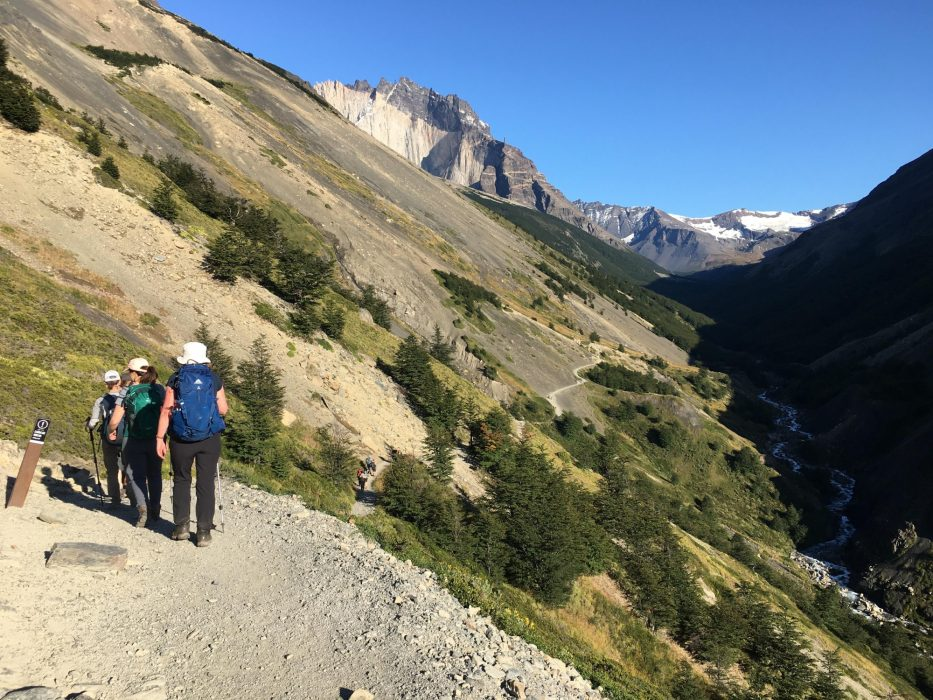 Trekking up the valley to the Torres del Paine