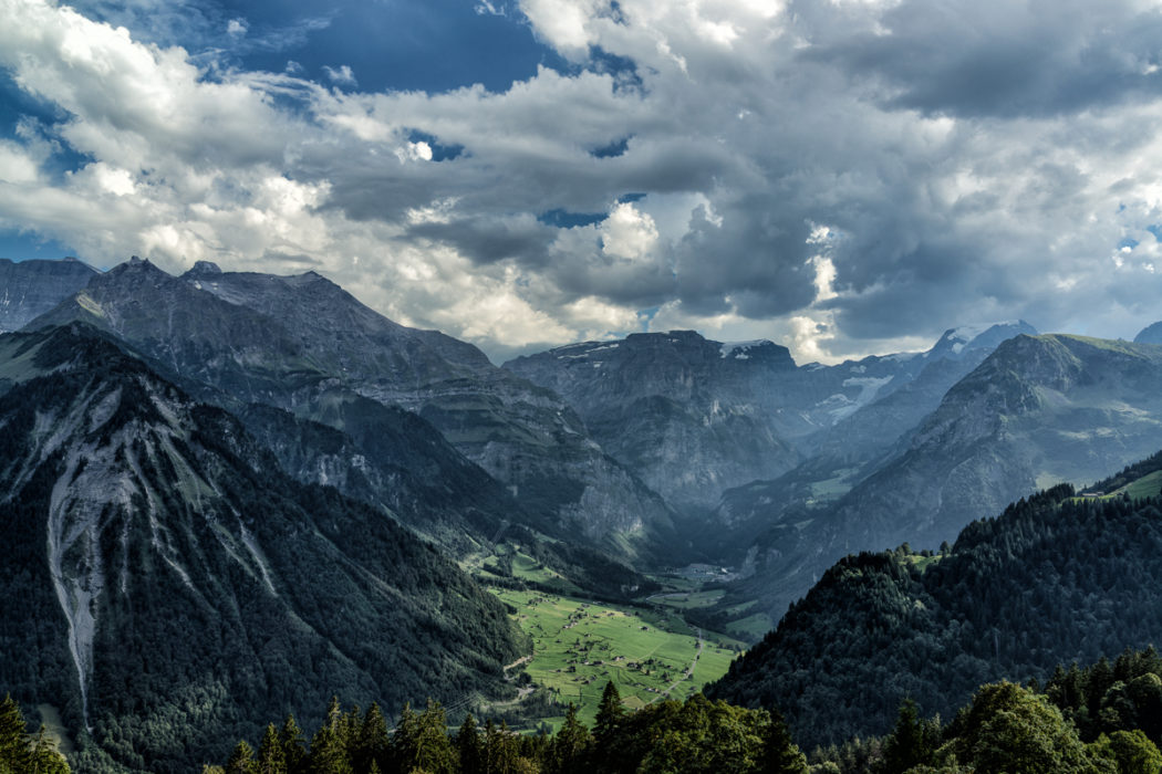 Braunwald Down Valley To  Linthal With  Todi In Background
