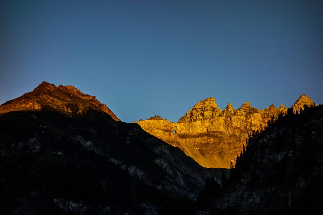 Sunset On  Martensloch From  Elm