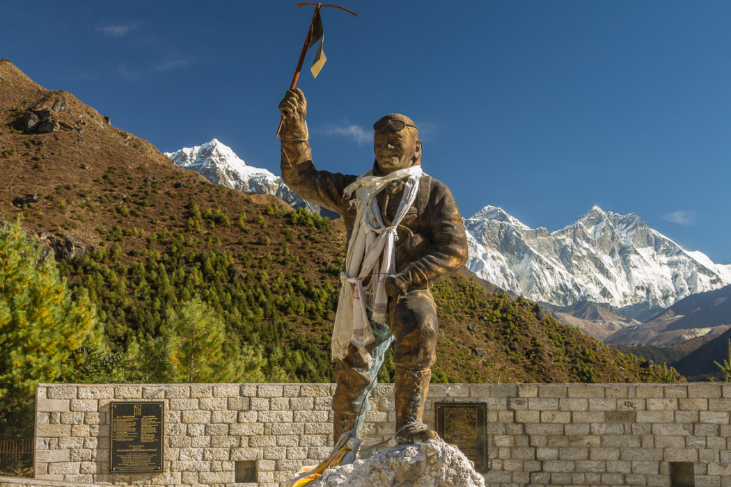Statue Of  Tenzing  Norgay With Behind  Mount  Everest And  Lhotse Just Right Of It And  Taboche  Peak To The Left   Sagarmatha  National  Park  Unesco  World  Heritage  Site