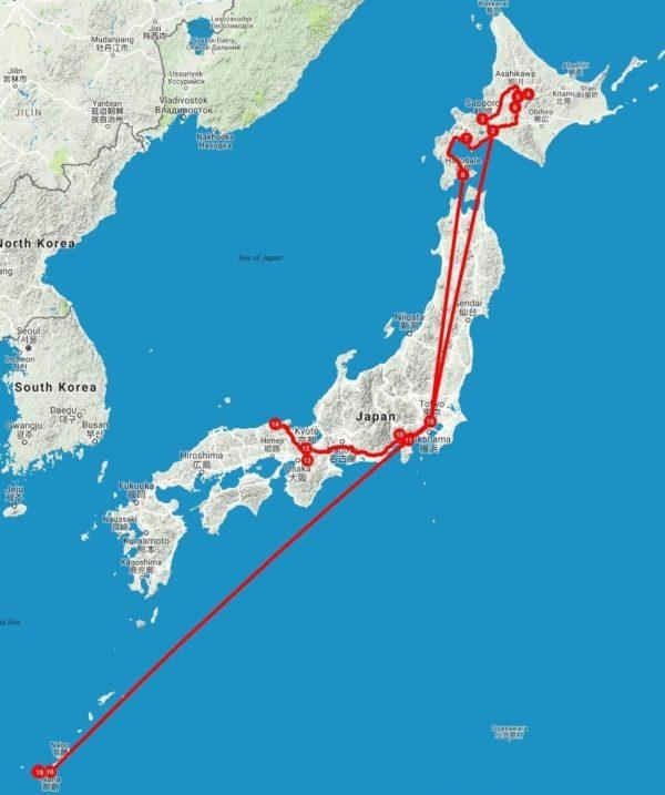 Japan Tour Map
