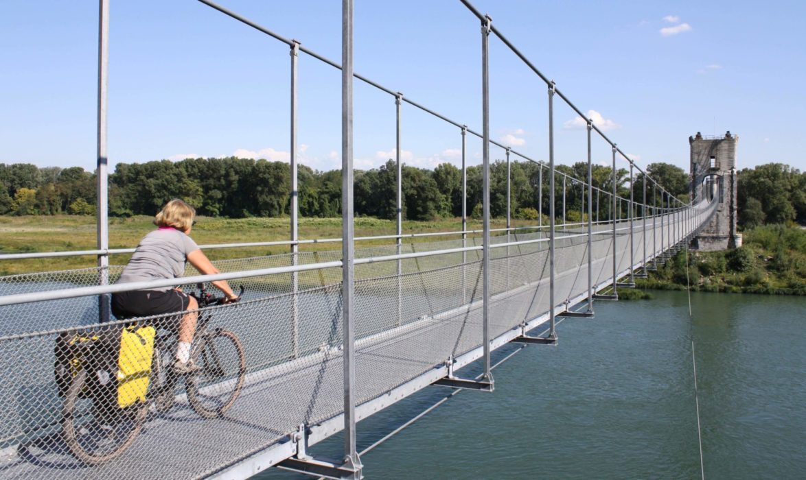 At  Rochemaure The Cycle Route Crosses The  Rhone By A Reinstated  Hinalayan Style Suspension Bridge
